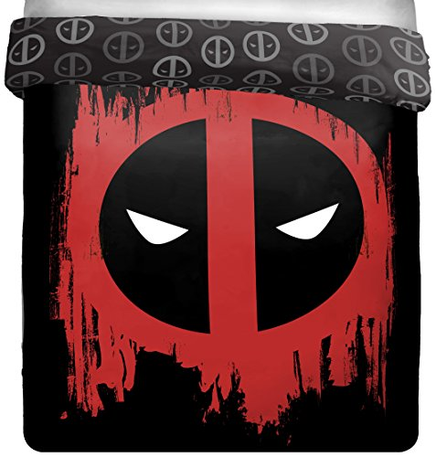 Marvel Deadpool Invasion Full/Queen  Comforter - Super Soft Kids Reversible Bedding features Deadpool - Fade Resistant Polyester Microfiber Fill (Official Product) by Marvel