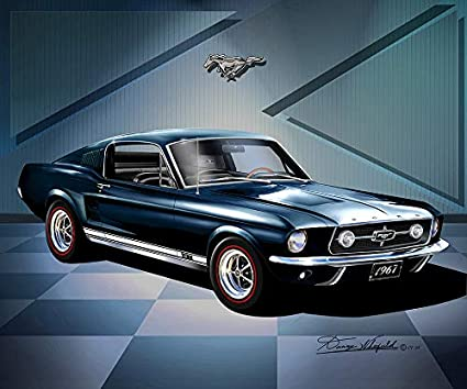 1967 Mustang Fastback >> Amazon Com 1967 Mustang Fastback Night Mist Blue Fine