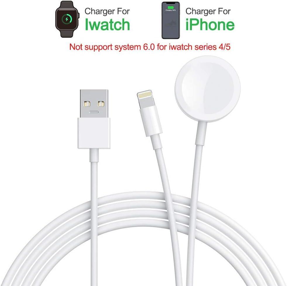 Amatage Apple Watch Chargeur, 2 en 1 Chargeur sans Fil Compatible avec Apple Watch Series 4 3 2 1, Câble de Charge Portable pour iPhone XRXS Series