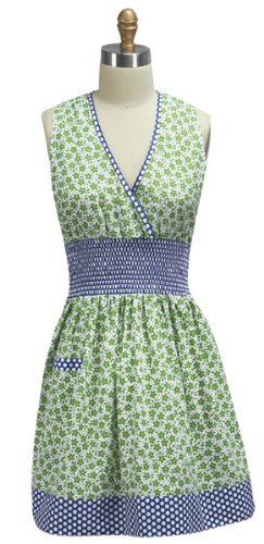(Cafe Express Floral Smocked Apron - Pink Green Two Colors (Indigo))