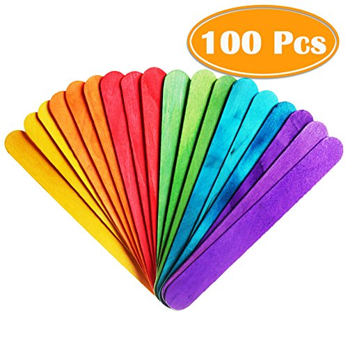 "PAXCOO 100 Pcs 6"" Colored Jumbo Wood Craft Sticks (Sticks Colored)"