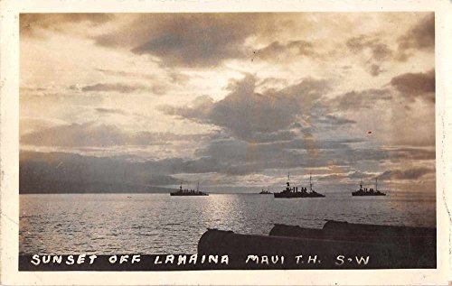 Lahaina Maui Hawaii Sunset US Naval Fleet Real Photo Antique Postcard - Lahaina Maui Stores In