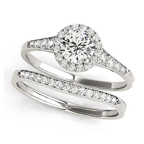 14K White Gold Unique Wedding Diamond Bridal Set Style MT51057