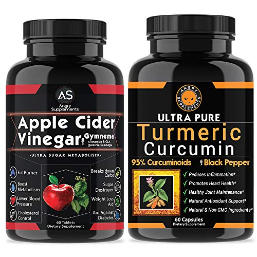 Apple Cider Vinegar Pills for Weightloss and Turmeric Curcumin [2 Pack Bundle] Natural Detox Remedy Includes Gymnema, Garcinia, BioPerine for Complete Diet and Health - Best Starter Kit or Gift.
