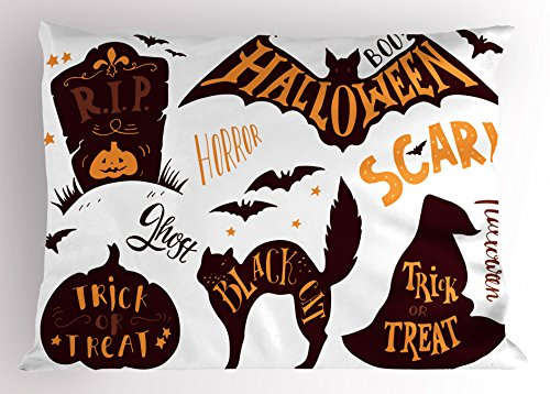 Vintage Halloween Pillow Sham by Ambesonne, Halloween Symbols Trick or Treat Bat Tombstone Ghost Candy Scary, Decorative Standard King Size Printed Pillowcase, 36 X 20 Inches, Dark Brown Orange