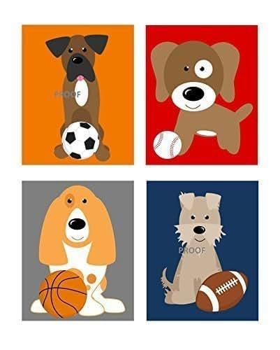 Amazon Com Puppy Dog Nursery Art Prints Sports Nursery