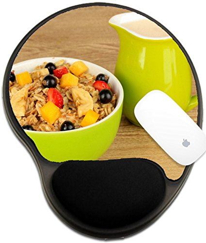 Oatmeal Elite (Luxlady Mousepad wrist protected Mouse Pads/Mat with wrist support design IMAGE ID 21337615 Oatmeal with fruits on table close up)