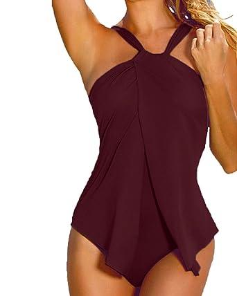 design innovativo 8370d d9722 SaiDeng Costume da Bagno con Culotte Costumi da Piscina Donna Bikini Intero  Beachwear Trikini