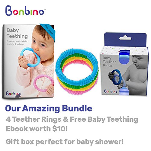 Teether Rings - (4 Pack) Silicone Sensory Teething Rings - Fun, Colorful and BPA-Free Teething Toys - Soothing Pain Relief and Drool Proof Teether Ring (Unisex) by Bonbino (Image #4)