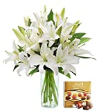 KaBloom Pure Love White Lily Bouquet of 13 White Lilies with Vase and One Box of Lindt Chocolates