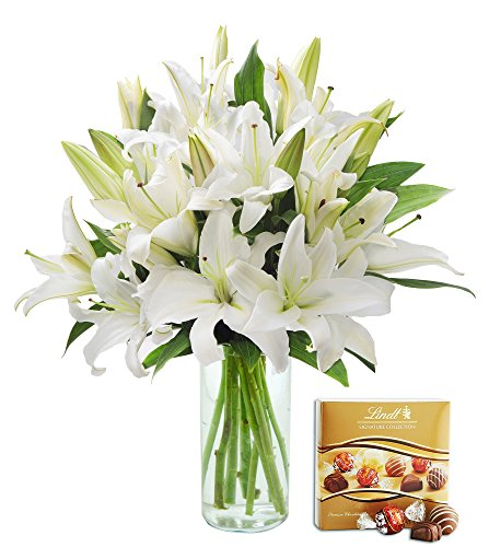 KaBloom Pure Love White Lily Bouquet of 13 White Lilies with Vase and One Box of Lindt Chocolates by KaBloom