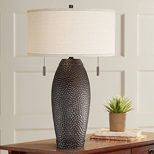 Noah Modern Table Lamp Hammered Bronze Vase Oatmeal Drum Shade for Living Room Family Bedroom Bedside Nightstand - Franklin Iron Works ()