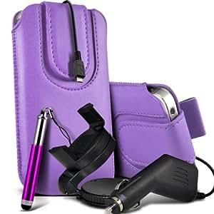 Nokia Lumia 810 premium protección PU botón magnético ficha de extracción Slip espinal en bolsa de la cubierta de piel de bolsillo rápido con lápiz óptico retráctil, un cargador de coche USB Micro 12v y 360 Sostenedor giratorio del parabrisas del coche cuna Purple por Spyrox