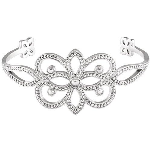 18k White Gold Granulated Cuff Bracelet