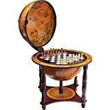 "KasselTM 13"" Diameter Globe with 57pc Chess and Checkers Set"