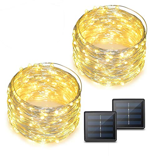 Binval Solar String Lights 72ft 200led Copper Wire Led String Lights Ambiance Lighting For Patio Lawn Garden Landscape Home Wedding Christmas Party Xmas Tree Waterproof Warm White 2 Pack