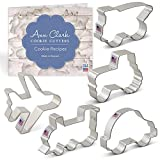 Ann Clark Cookie Cutters 5-Piece Transportation and Vehicles Cookie Cutter Set with Recipe Booklet,Tractor, Train, Dump Truck, Airplane and Car