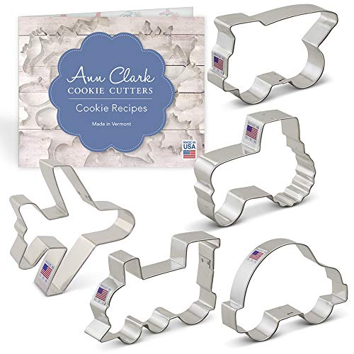 (Transportation/Vehicles Cookie Cutter Set with Recipe Booklet - 5 piece - Tractor, Train, Dump Truck, Airplane and Car - Ann Clark - USA Made Steel)