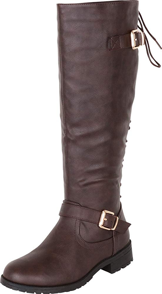 Brown Pu Cambridge Select Women's Back Corset Lace Strappy Buckle Riding Knee-High Boot
