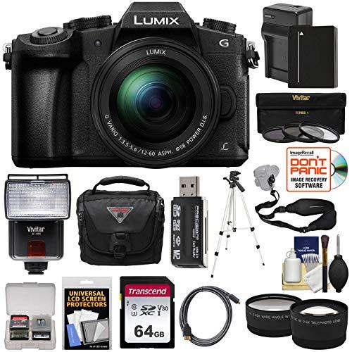 Panasonic Lumix DMC-G85 4K Wi-Fi Digital Camera & 12-60mm Lens with 64GB Card + Battery + Case + Tripod + Flash + Sling Strap + Tele & Wide Lens Kit