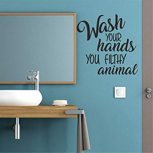 Vinly Art Decal Words Quotes Wash Your Hands You Filthy Animal Decal Lettering for Bath Room Toilet