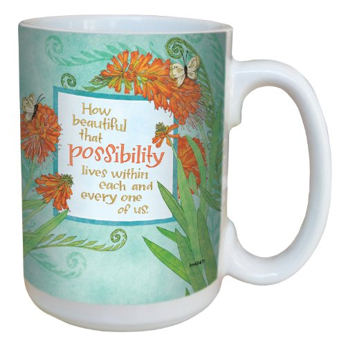 Tree-Free Greetings lm43471 Inspiring Orange Possibilities by Robin Pickens Ceramic Mug with Full-Sized Handle, 15-Ounce