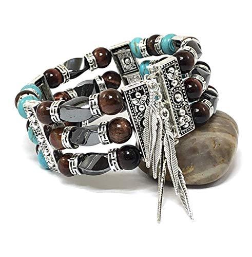Southwestern Bracelet Men's Women's Cuff Turquoise Jewelry Memory Wire Tigers Eye Bangle