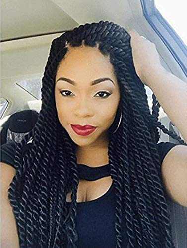 ce Front Wigs African American Twist Braids Wigs for Black Women Natural Color (18 Inch) ()