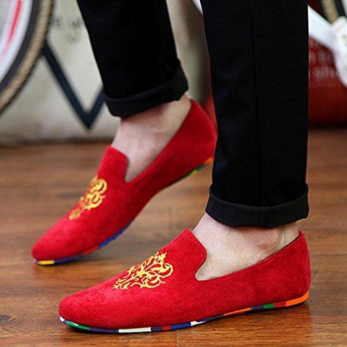 Rojo Loafers Aardimi Zapatillas Gamuza Pisos Conducción Hombres Zapatos Casual De Bordado Mocasines 7wqP6a