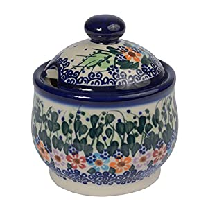 Traditional Polish Pottery, Handcrafted Ceramic Lidded Sugar Bowl with a Spoon Slot (290ml / 10 fl oz), Boleslawiec Style Pattern, C.102.DAISY