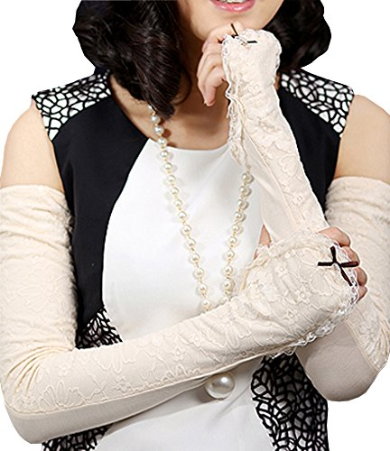 Grazing Women's Long Lace Fingerless Anti-uv Sun Golf Driving Arm Sleeves Gloves ( Beige ) by Grazing