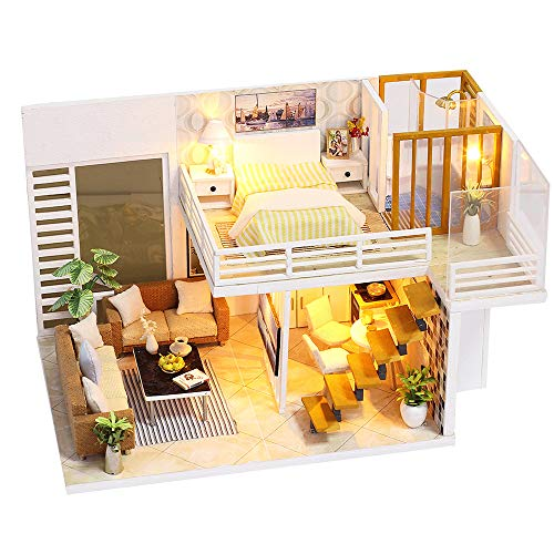 Spilay DIY Miniature Dollhouse Wooden Furniture Kit,Handmade Mini Modern Duplex Apartment Model with Dust Cover & Music Box,1:24 Scale Creative Doll House Toys for Children Gift (Simple and Elegan)