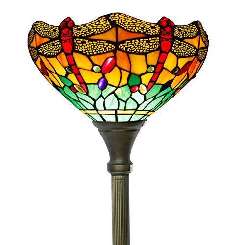 Tiffany Style Torchiere Light Floor Standing Lamp Wide 12 Tall 66 Inch Green Yellow Stained Glass Crystal Bead Dragonfly Lampshade for Living Room Bedroom Antique Table Set S009G WERFACTORY