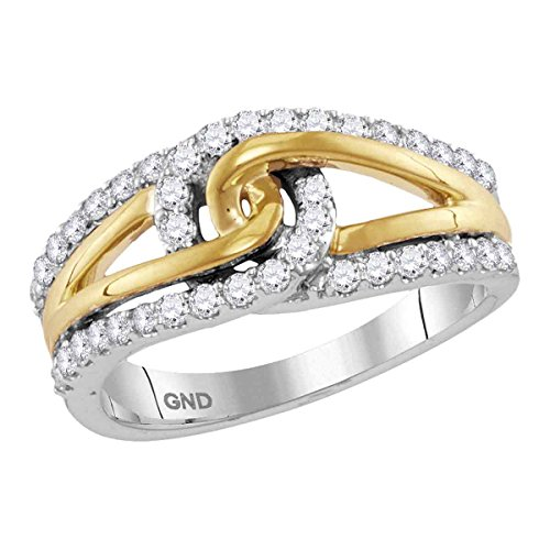 - 10kt Two-tone White Gold Womens Round Diamond Lasso Loop Knot Band Ring 1/2 Cttw
