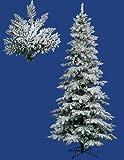 Vickerman Pre-Lit Flocked Layered Utica Fir Slim Christmas Tree with Multicolored Lights, 9'
