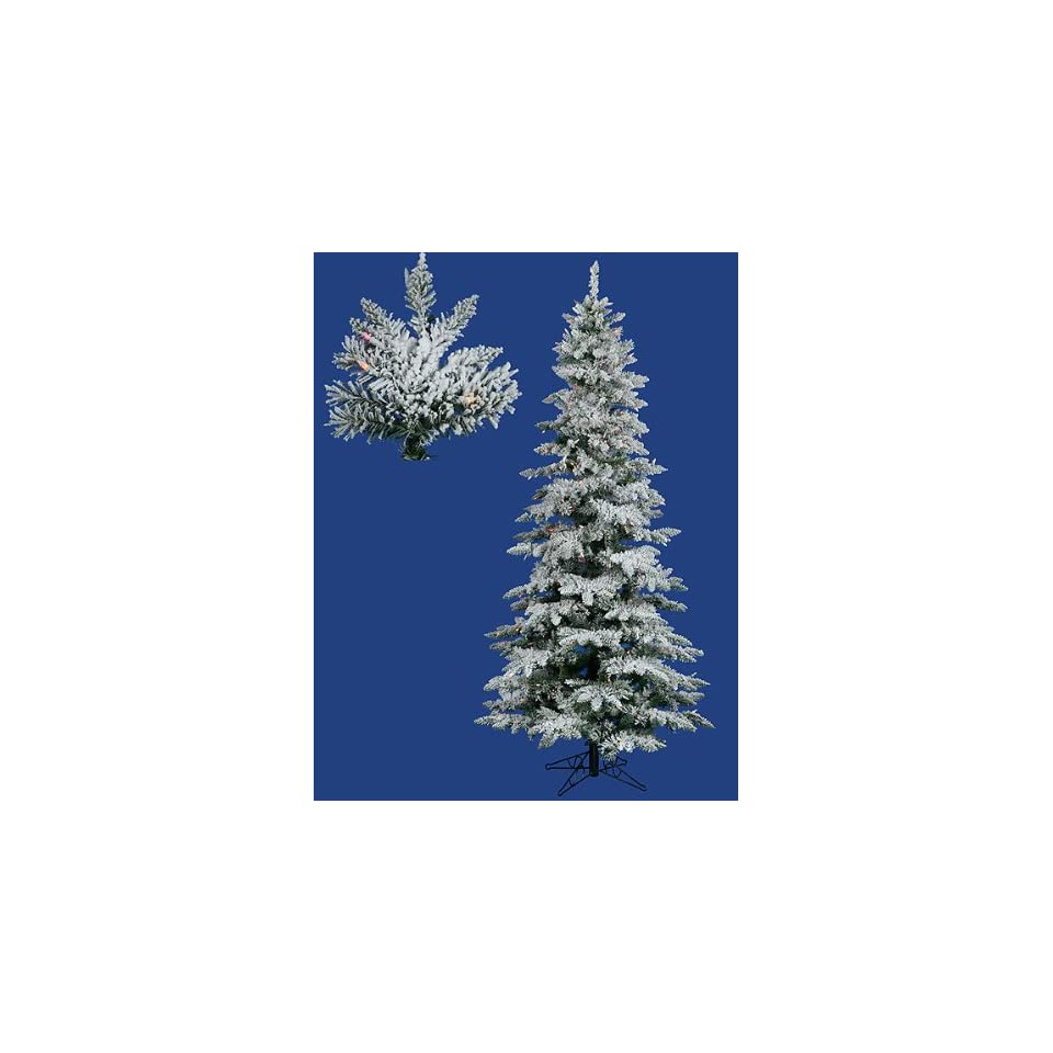 New   9 Pre Lit Slim Flocked Layered Utica Fir Artificial Christmas Tree Multi by Gordon