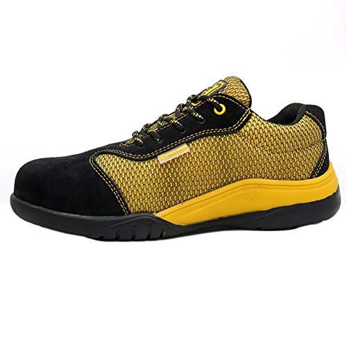 Yellow Slip Shoe Work Lightweight Shoes Men's Steel PANCY Toe Resistant xwYqzcCI