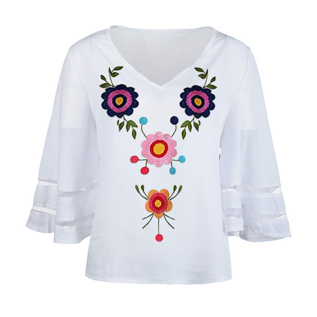 Funnygals Womens V-Neck Tops Floral Print Loose 3//4 Bell Sleeves Blouse Solid Color Lace Top Tees for Women Ladies