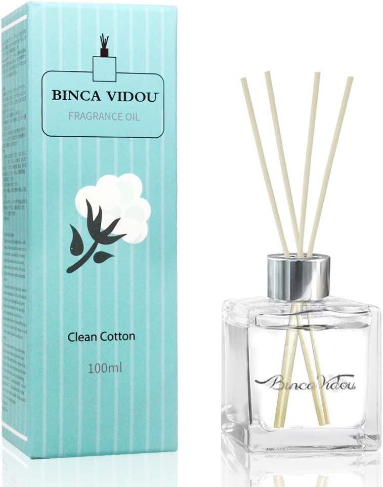 binca vidou Reed Diffuser Clean Cotton Scented Reed Oil Diffuser Set with Rattan Reeds for Bathroom Office Gift Stress Relief 100ml/3.4 fl.oz