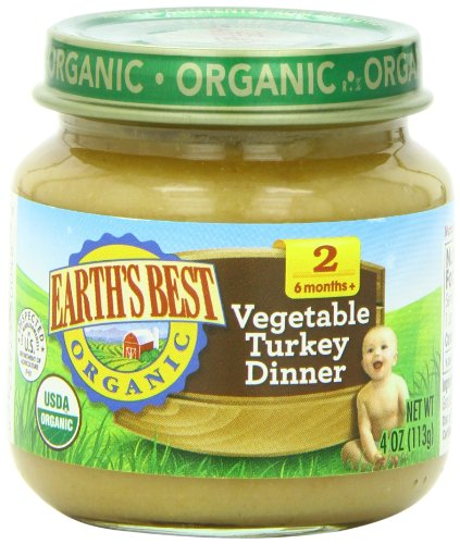 Earth's Best Organic Stage 2 Baby Food, Vegetable Turkey Dinner, 4 Ounce Jars, Pack of 12