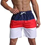 Milankerr Men's Swim Trunk Beach Shorts (M(Waistline:32''-34''), NavyRed)