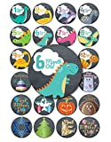 Rustic Pastel Dinosaur Baby Monthly Stickers, 24-Pack 4 inch 12 Monthly 1st Year Milestones & First Holidays Premium Baby Belly Stickers, Mom to Be or Dad to Be Gifts, Awesome Baby Shower Gifts