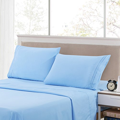 3 Piece Bed Sheets Set- Twin Size HIGHEST QUALITY Brushed 1800 Bedding Series Sheet Set -Wrinkle, Fade, Stain Resistant - Hypoallergenic, Soft Sheets & Pillow Cases by Lux Decor (Twin, (3 Piece Place Set)
