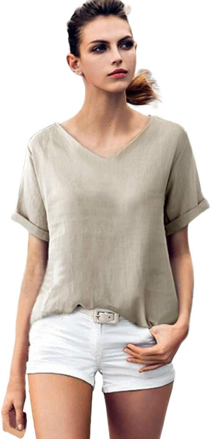 LP Damen Zipper Kurzarm T-shirt Deep V-Ausschnitt Bluse Shirt Tops Oversized