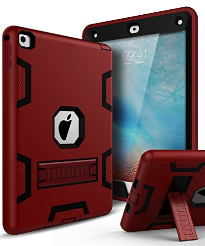 iPad Air 2 Case,iPad 6 Case,TIANLI(TM) ArmorBox [Three Layer] Convertible [Heavy Duty] Rugged Hybrid Protective With KickStand Case For iPad Air 2,Red/Black