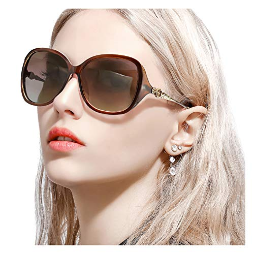 FIMILU Women's Classic Oversized Polarized Sunglasses Elegant Fashion Rhinestone Design for Driving Shopping Travelling (Brown Frame/Gradient Brown Lens Oversized Polarized ()