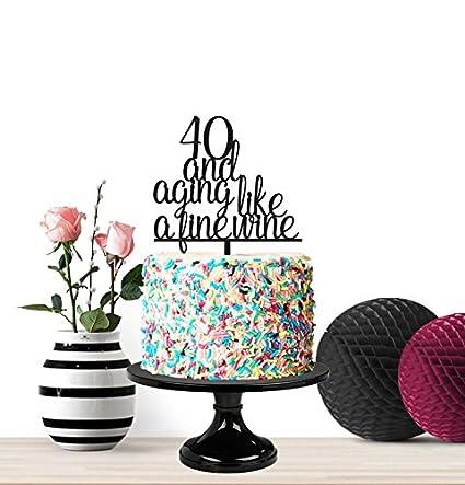 Decoración para tarta de 40 y 40 años como un vino, feliz ...