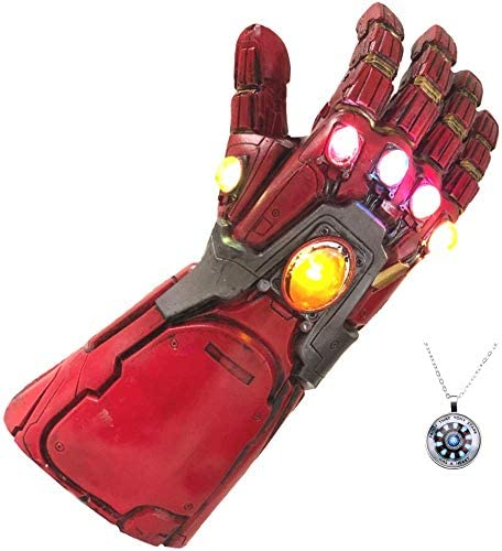 Endgame Iron Man Infinity Gauntlet Latex Replica LED Light Up Toy Cosplay Costume w/Necklace