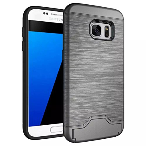 Samsung Galaxy S7 Shockproof Case, TYoung Brushed Skin Armor Case Full Around Silicone Cover with Stand Support and Card Slot for Samsung Galaxy S7 - Silver - Times Usps International Delivery