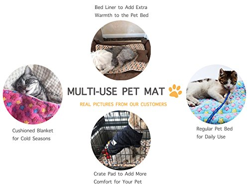 Mora Pets Ultra Soft Pet (Dog/Cat) Bed Mat Cute Prints | Reversible Fleece Dog Crate Kennel Pad | Machine Washable Pet Bed Liner (24-inch, Pink) by Mora Pets (Image #5)